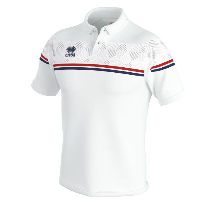 Errea Dominic Polo Shirt White Red Navy