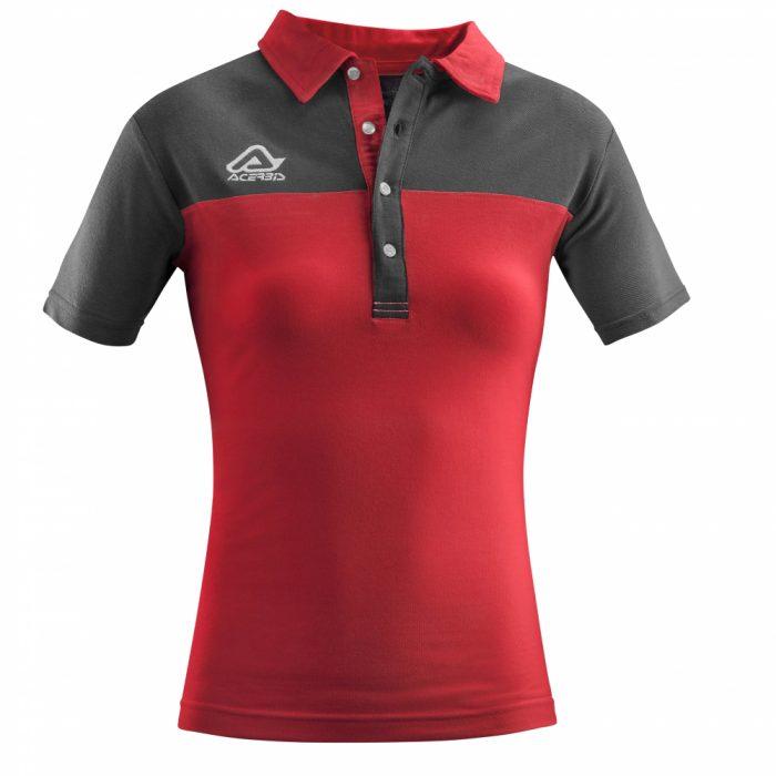 Acerbis Belatrix Womens Polo Shirt Red Grey