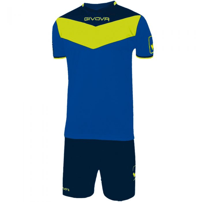 Givova Campo Fluo Football Kit Blue Navy Fluo Yellow