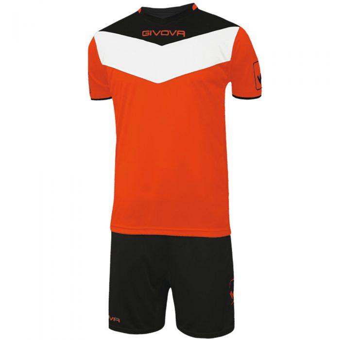 Givova Campo Fluo Football Kit Orange Black White