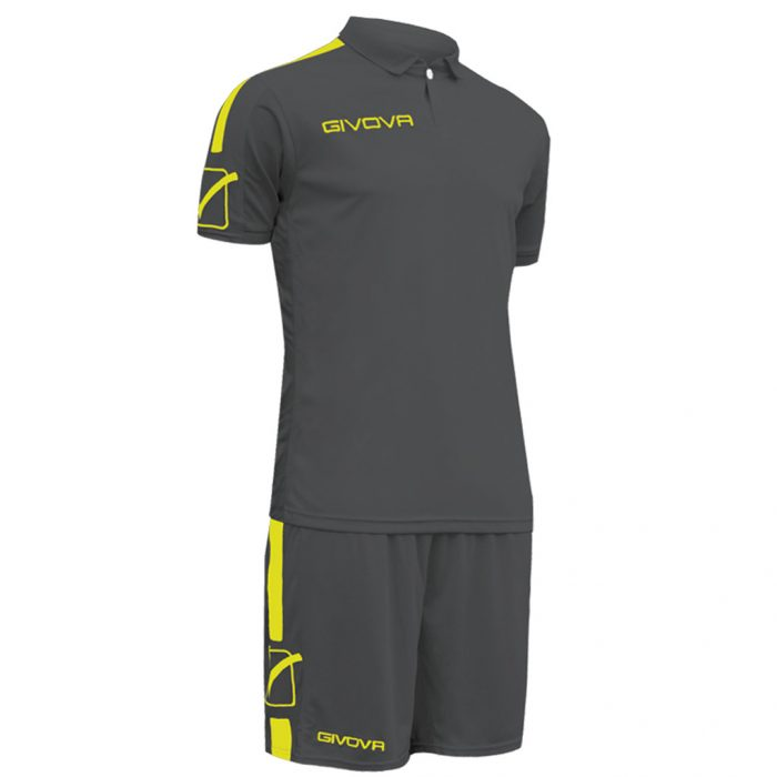 Givova Play Football Kit Grey Yellow