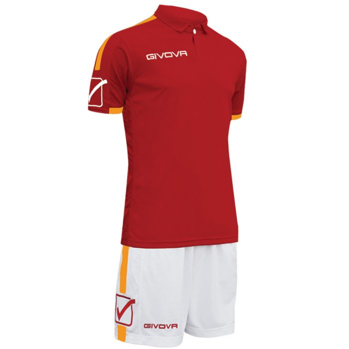 Givova Play Football Kit Maroon Orange