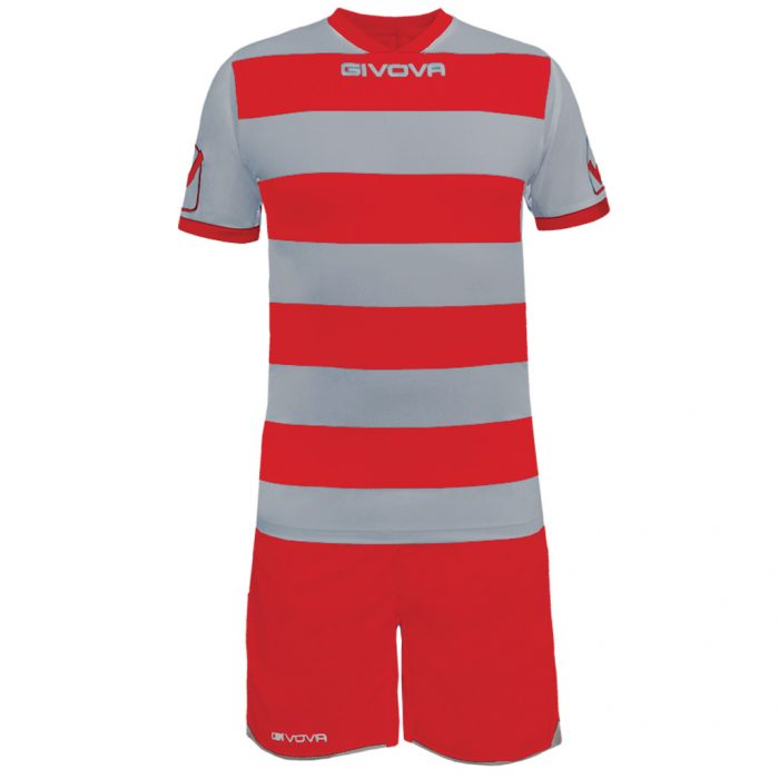 Givova Rugby Football Kit Light Grey Red