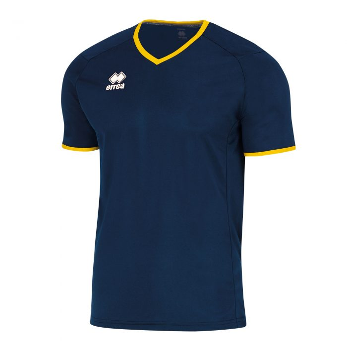 Errea Lennox Short Sleeve Shirt Navy Yellow