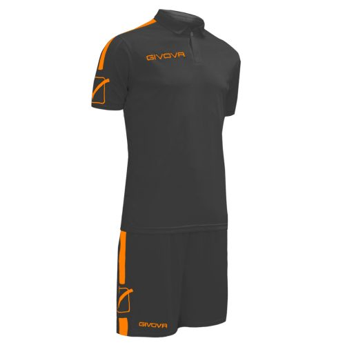 Givova Play Football Kit Black Orange Fluo