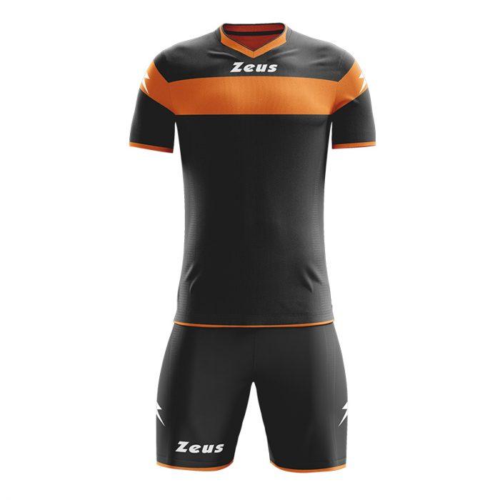 Zeus Apollo Football Kit Black Orange Fluo