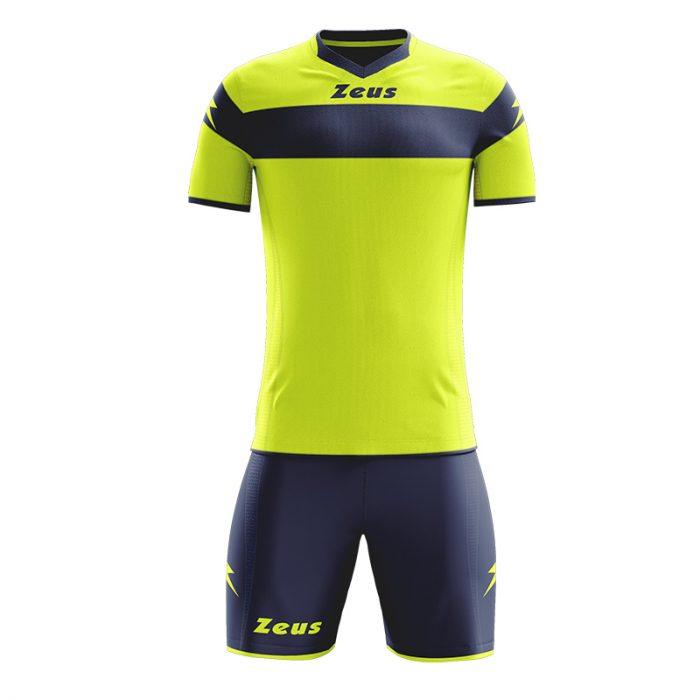 Zeus Apollo Football Kit Yellow Fluo Navy