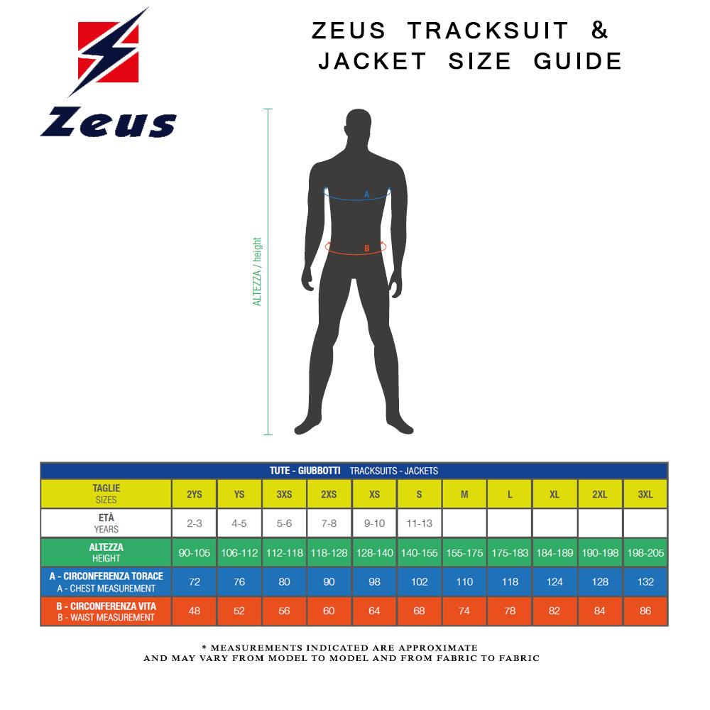 Zeus Tracksuit Size Guide